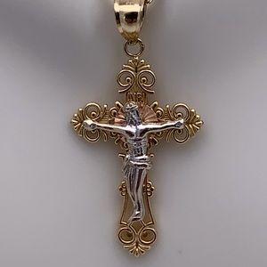 Jewelry - Two-tone INRI Jesus Cross pendant in solid 14K